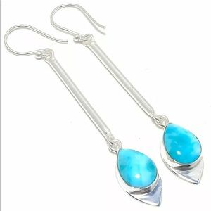 Caribbean Larimer dangle silver earrings
